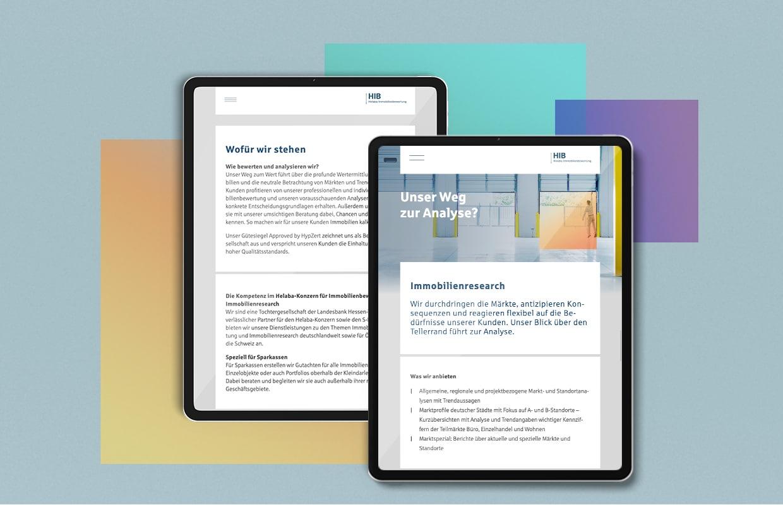 HIB Corporate Website Online Digital Webauftritt Tablet