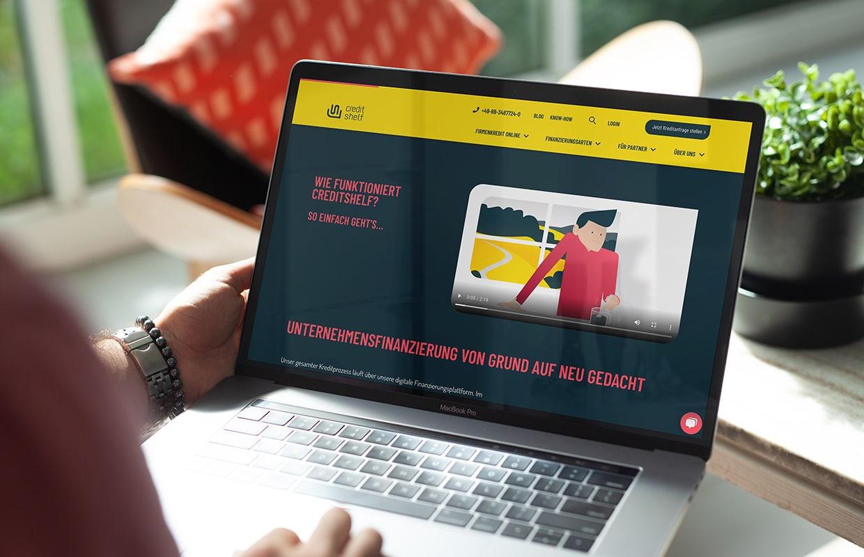 Konzeption und Produktion Erklärfilm Creditshelf Webauftritt Online