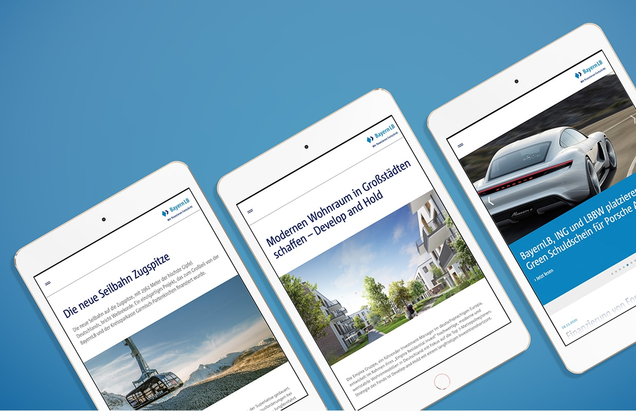 Corporate Website Responsive Webdesign BayernLB Mobil