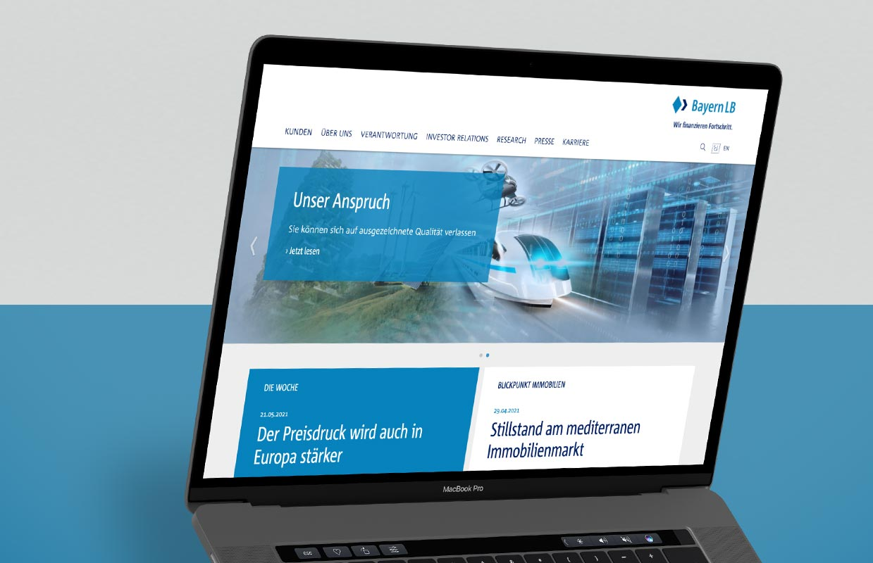 BayernLB Slider Geräte1Corporate Website Responsive Webdesign BayernLB Laptop Design
