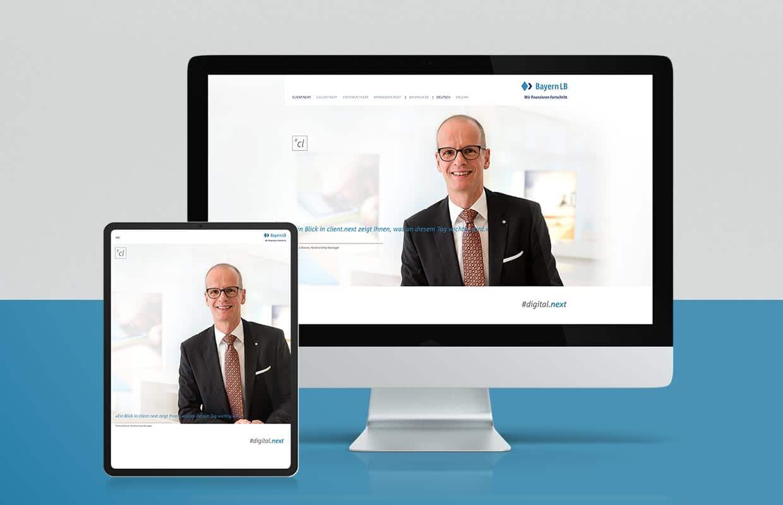 Corporate Website Responsive Webdesign BayernLB Mobil und Desktop Landing Page