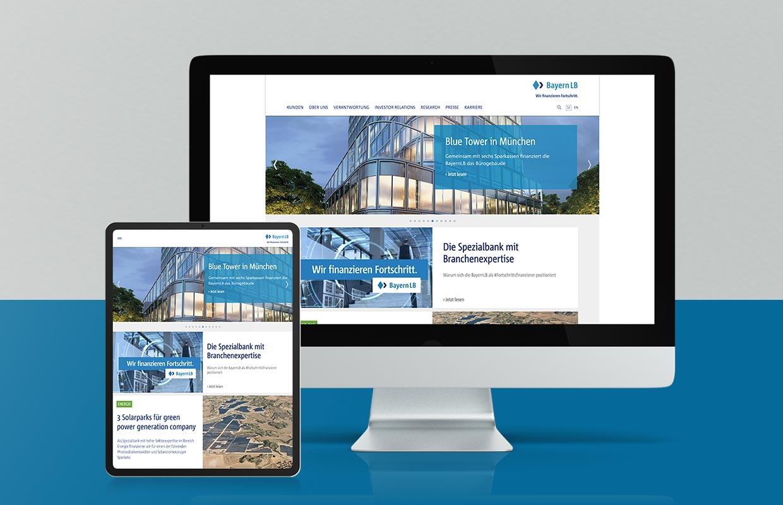 Corporate Website Responsive Webdesign BayernLB Mobil und Desktop
