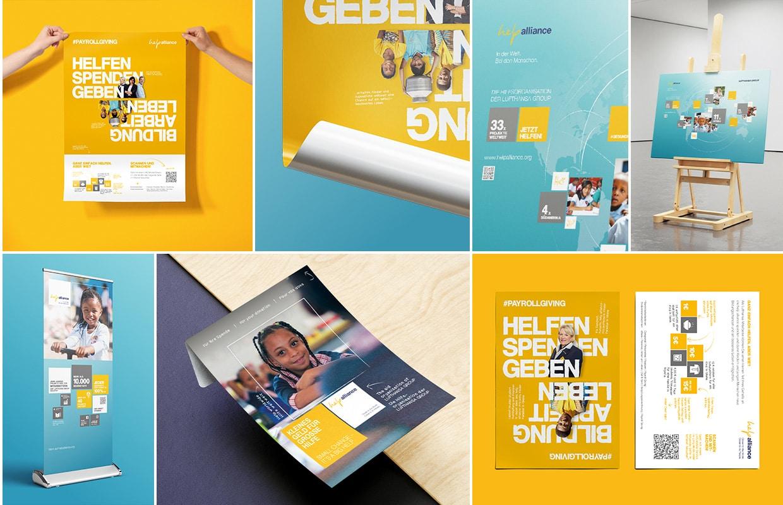 Brand und Corporate Design help alliance Plakate Print