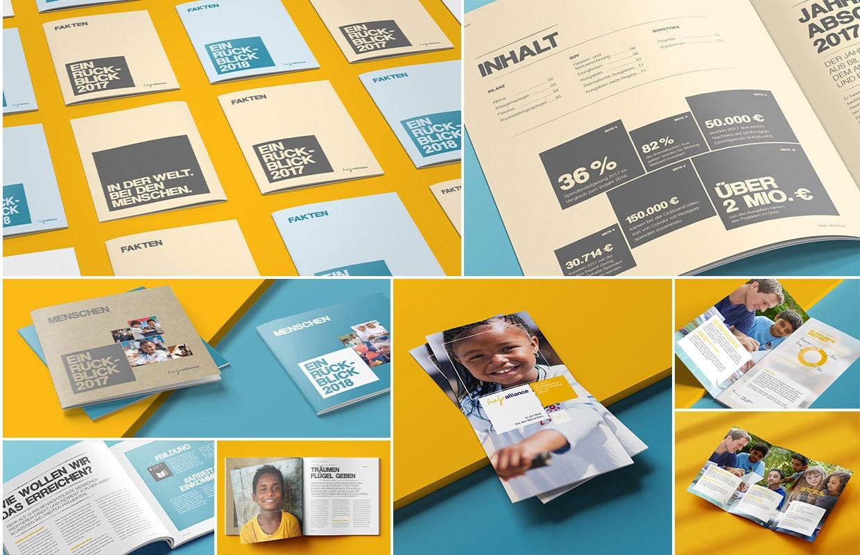 Brand und Corporate Design help alliance Print Broschüren